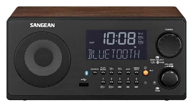 Sangean WR-22 Bluetooth Tabletop Wooden Cabinet Receiver