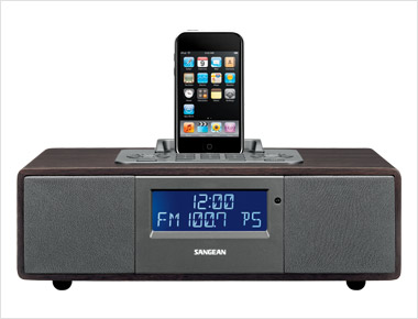 Sangean WR-5 Tabletop Wooden Cabinet Receiver Compatible with iPod